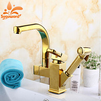 Luxury Gold Finish Kitchen Faucet Pull Out Sprayer Kitchen Tap Mixer Faucet Deck Mounted