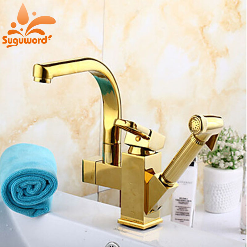 Luxury Gold Finish Kitchen Faucet Pull Out Sprayer Kitchen Tap Mixer Faucet Deck Mounted Faucets кроссовки nike nike ni464awrys16