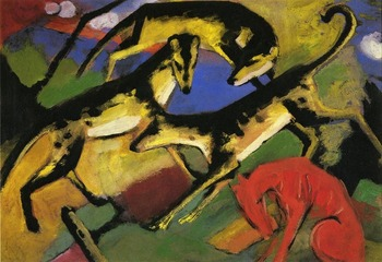 High quality Oil painting Canvas Reproductions Playing Dogs 1912  By Franz Marc  hand painted