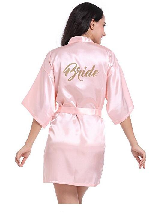 RB70 2017 Sexy Bridal Party Robe Letter Bridesmaid on the Robe Back Women Short Satin Wedding Kimono Sleepwear Get Ready Robes