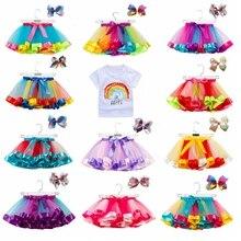 Летняя юбка-пачка, юбки для маленьких девочек, мини-юбка принцессы, юбка радужной расцветки для дня рождения, одежда для девочек, одежда для детей