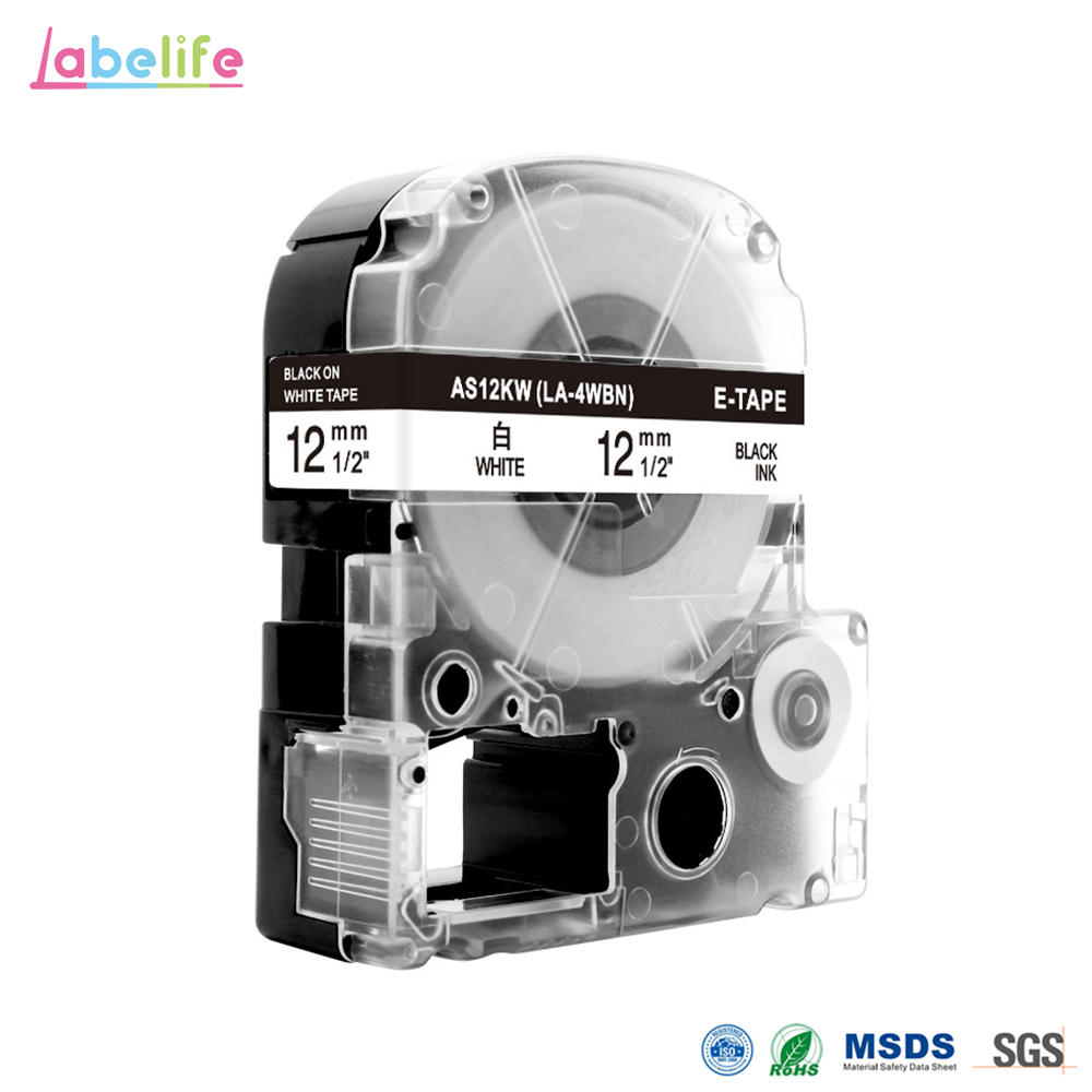 Labelife 1pcs SS12KW LC 4WBN Compatible Epson LabelWorks LK Tape Standard 12mm For Epson Label Printer