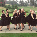 Black Short Bridesmaid Dresses Satin With Tulle Elegant Ball Gowns Knee Length Wedding guest Dresses   Z1002
