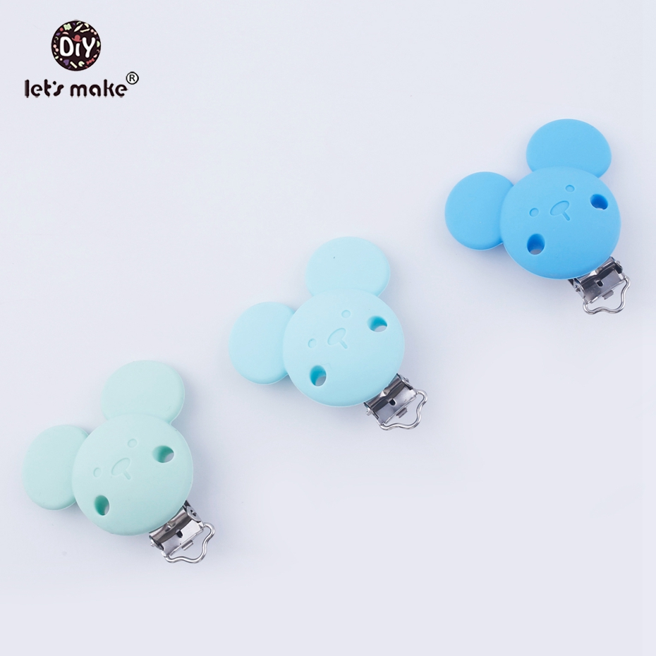 Let s make 20pcs Bear Silicone Teething DIY Dummy Clip Chain Food Grade Silicone Teether CLips