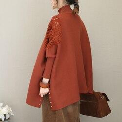 2019 weibliche neue frühling orignal design plus größe einfarbig fledermaus ärmel hohe kragen mode haken blume nähte stricken
