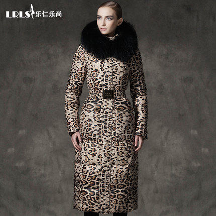 Luxury royalcat 2016 Winter jacket women Down jackets leopard print down coat Women's long thicken large fur Hooded Outerwear