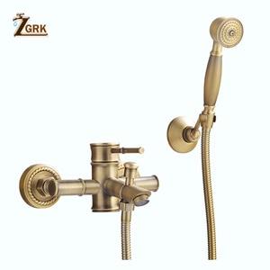 Image 5 - ZGRK Shower Faucets Brass Golden Wall Mounted Rainfall Bathroom Faucet Big Round Shower Head Handheld Bathtub Mixer Tap Set