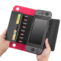 Gamepad Card Holeders Flip Leather Case Wallet Protective Cover for Nintend Switch Accessories Stand Function Joy Con Case