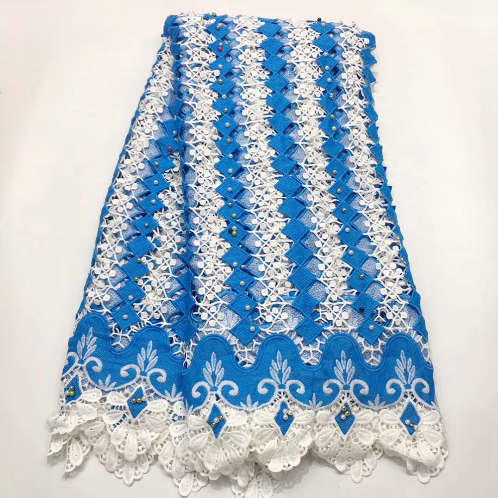High quality White Blue nigerian wedding african lace fabric/100% Cotton lace/guipure cord lace fabric for wedding partyHigh quality White Blue nigerian wedding african lace fabric/100% Cotton lace/guipure cord lace fabric for wedding party