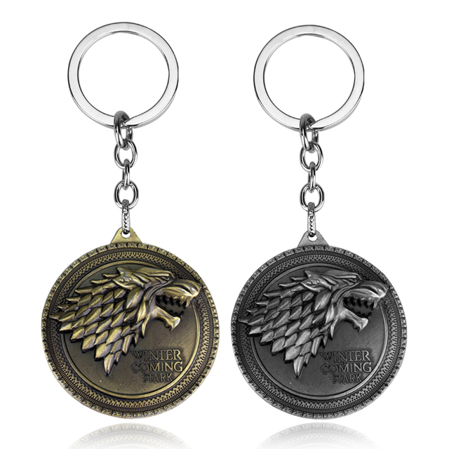 RJ Hot Sale Movie Game of Thrones Keychain Wolf head Badge Key Chains Pendant For Women And Men Fans Gift keyring