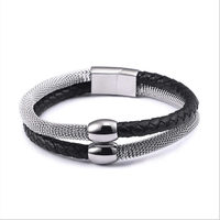 2018 New Fashion Bracelet For Men Jewelry Gold/Silver Stainless Steel Genuine Leather Woven Charm Bracelets Vintage Gifts