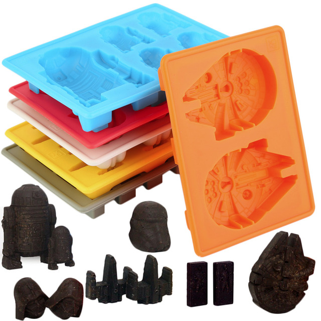 2017 New Arrival Hot 6pcs/Kit Star Wars Ice Tray Silicone Mold Cube Tray Chocolate Fondant Moulds Household kitchen DIY tools