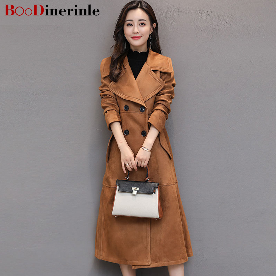 BOoDinerinle S-2XL New Fashion Women Winter Large Pocket Lapel Long Sleeves Solid Simple Female Leisure Trench Coat 2017 FY001