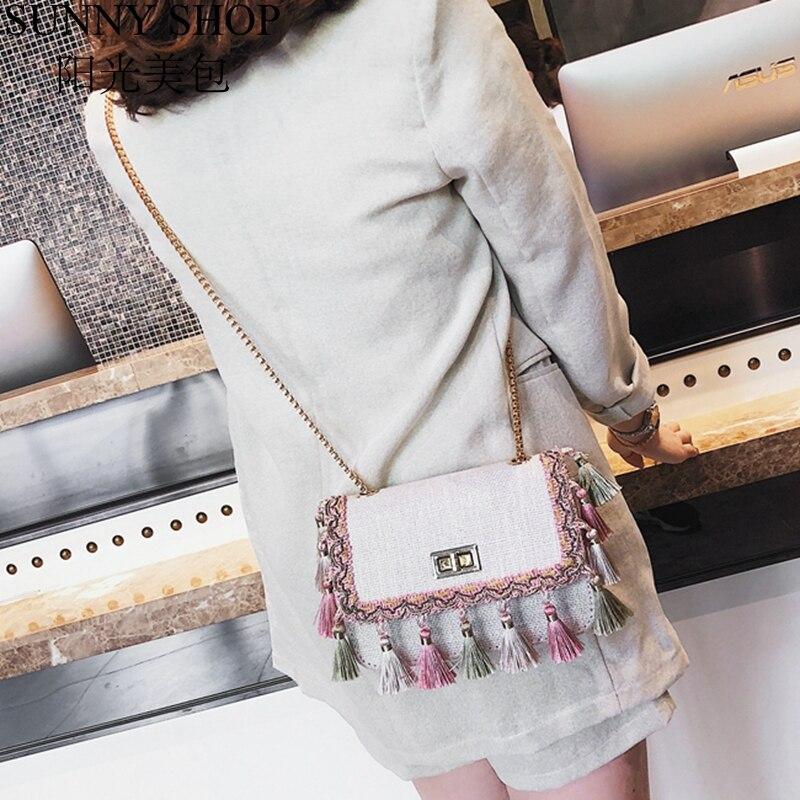SUNNY SHOP Small Shoulder Bag Chain Handbag Women Summer Bag Elegant Female Crossbody Bag Tassel National Designer Boho 38