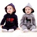 Nova moda primavera macacão de bebê Romper com capuz escalada roupas macacão de bebê menino e meninas frete grátis