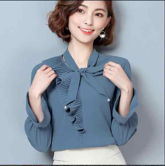 2018 Spring  bow long-sleeved chiffon shirt fashion elegant female stitching chiffon blouse Social women tops E184