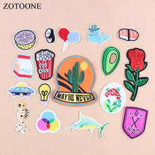 ZOTOONE 1Pcs DIY Avocado Patches For Clothes Cartoon Animals Embroidered Iron On Patch Kids Sushi Whale jeans Hat A1