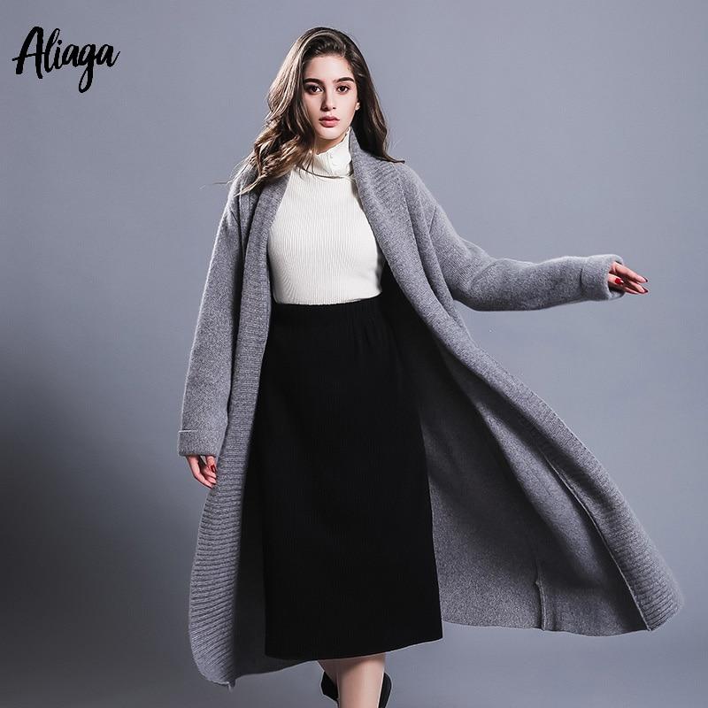 Длинные кардиганы Для женщин свитера осень зима 2018 новый 100% из чистого кашемира пальто кардиган женские толстые V шеи плюс Размеры верхняя о