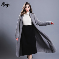 Long Cardigans Women Sweaters Autumn Winter 2018 New 100% Pure Cashmere Cardigan Coats Female Thick V Neck Plus Size Outerwear