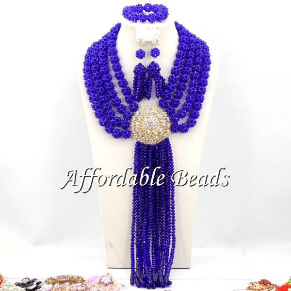Royal Blue Fashion Beads Jewelry Set New Arrival Indian Jewelry Set Wedding Handmade Design BN246 стоимость