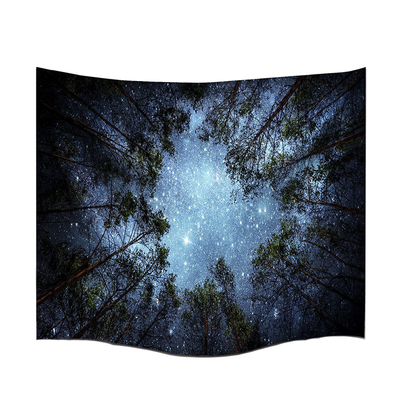 Mysterious Forest Tapestry Night Star Wall Hanging Tapestry Home Decor Sofa Cover Camping Curtain