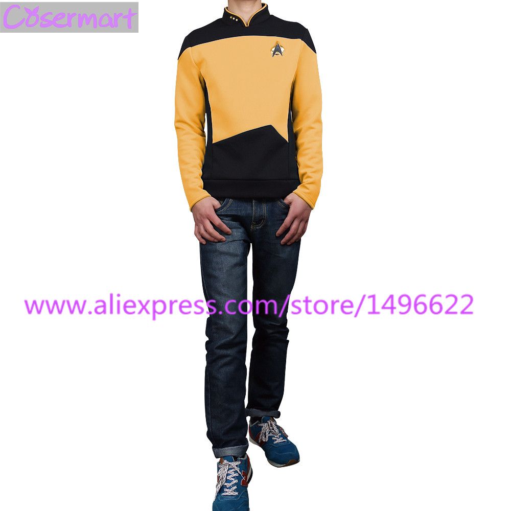 Star Trek TNG The Next Generation Red Yellow Blue Shirt Uniform Cosplay Costume For Men Coat Halloween Party (2)