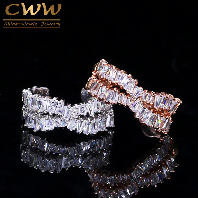CWWZircons Silver Rose Gold Color X Shape Adjustable Size Cubic Zirconia Cross Open Rings Jewelry Anel Popular Famous Brand R037