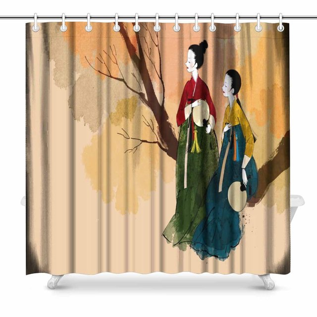 Korean Traditional Clothes Polyester Fabric Waterproof Bathroom Shower Curtain Set