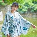Новый Стиль япония Кошка Печатных Кимоно Кошка Куртка Женщины Свободные Мягкие Юката Хаори Пальто синий Пиджаки один размер Топы Кардиган