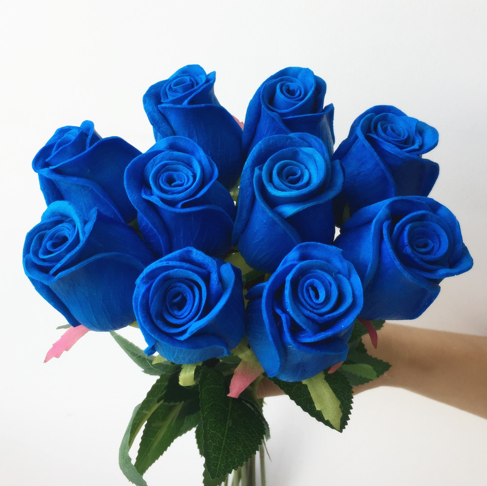Real Touch Roses Simulated Fake Flower Black Pink Blue Red Rose Pu