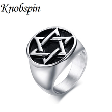 Фотография KNOBSPIN Star of David Rings for Men Silver Color Vintage Unique Jewelry High Quality anel masculino Size 8-12