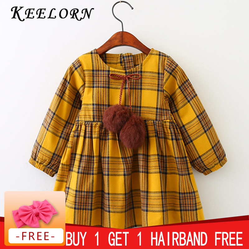 Keelorn Girls Dress Autumn Winter Brand Girl Clothes Plaid Fur Ball Bow New Design Baby Girls Dress Girls Casual Dresses Kids bibicola baby girls dress casual kids autumn girl clothes polka dots dress kids clothes cute dress girls party dress