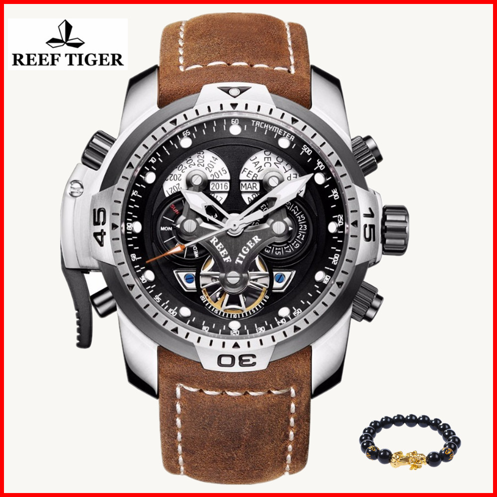 Reef Tiger Brand Luxury Tourbillon Sport Watch Calendar Date Waterproof 100M Leather Mechanical Mens Watches Relogio MasculinoReef Tiger Brand Luxury Tourbillon Sport Watch Calendar Date Waterproof 100M Leather Mechanical Mens Watches Relogio Masculino