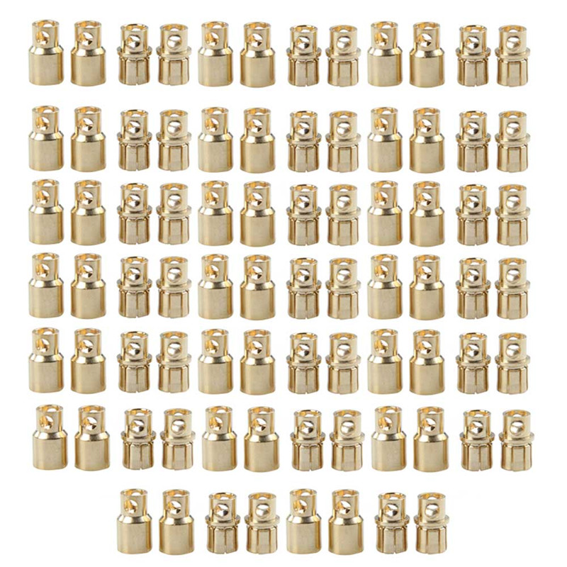 20 pair/lot Brushless Motor High Quality Banana Plug 8.0mm 8mm Gold Bullet Connector Plated For ESC Battery areyourshop hot sale 20 pcs high quality 4mm banana plug gold plated red black length 40mm connector