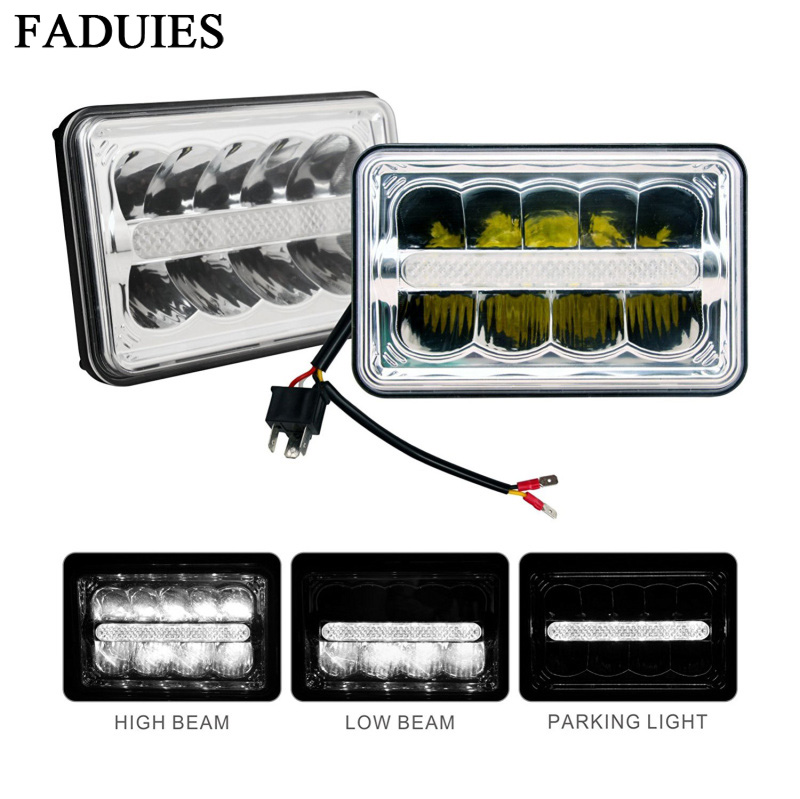 A pair Square 4x6 inch Led Headlight With DRL Replace HID Xenon H4651 H4652 H4656 H4666 H6545 For Peterbilt Kenworth Freightlin
