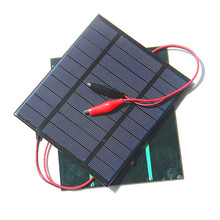 2.5W 5V Solar Cell Polycrystalline Solar Panel+Crocodile Clip For Charging 3.7V Battery Solar Charger 150*130MM