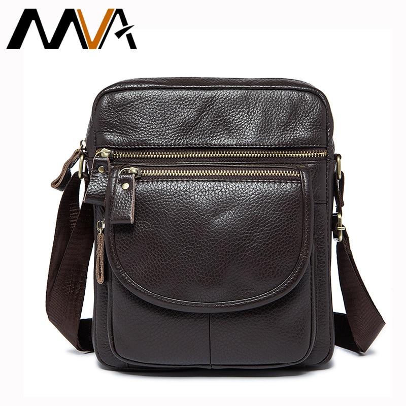 все цены на MVA Leather Bag Men Genuine Leather Bag Fashion Men Messenger Bags Brand Small Shoulder Crossbody Bags Men's Travel ipad Flap онлайн