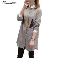 Plus Size Women Blouses 2020 Spring Fashion Turn Down Collar Long Sleeve tunic Striped Embroidery Ov