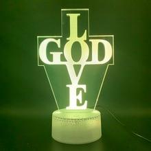 3d Led Night Light Lamp Letter Cross God Love Church Home Decorative Lamp USB or Battery Powered Luminaria Kids 3d Nightlight цена