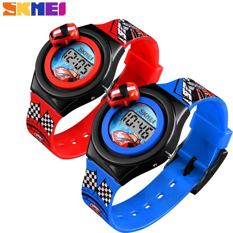 SKMEI Luxury Cartoon Car Children's Watch Fashion Sport Digital Electronic Kid's Wristwatches For Boys Girls Clock Montre Enfant