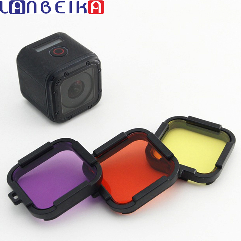 LANBEIKA For Gopro Hero 5 Session 4 Session Filter Lens Yellow Red Purple 3 Color In 1 UV Diving Filter Kit for Gopro Hero 4S 5S justone professional diving housing yellow orange purple filters for gopro hero 3