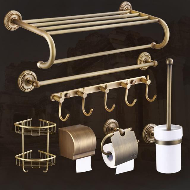 European Antique Ceramic Brass Shelf Towel Rack Gold Plated Bathroom Accessories GZ-9000