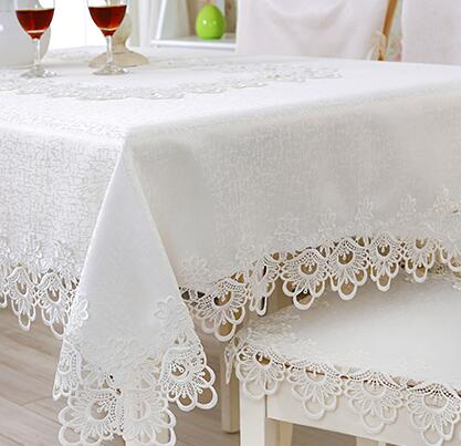 362-2# European embroidery princess white table cloth mat tablecloth lace tablecloth table dinner ornament runner square Garden ...