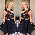 Vestidos Little Black vestidos Curtos Prom Vestidos Homecoming graduação Vestidos 2017 Apliques Sheer Mini Vestido Partido Do Doce 16 Vestidos
