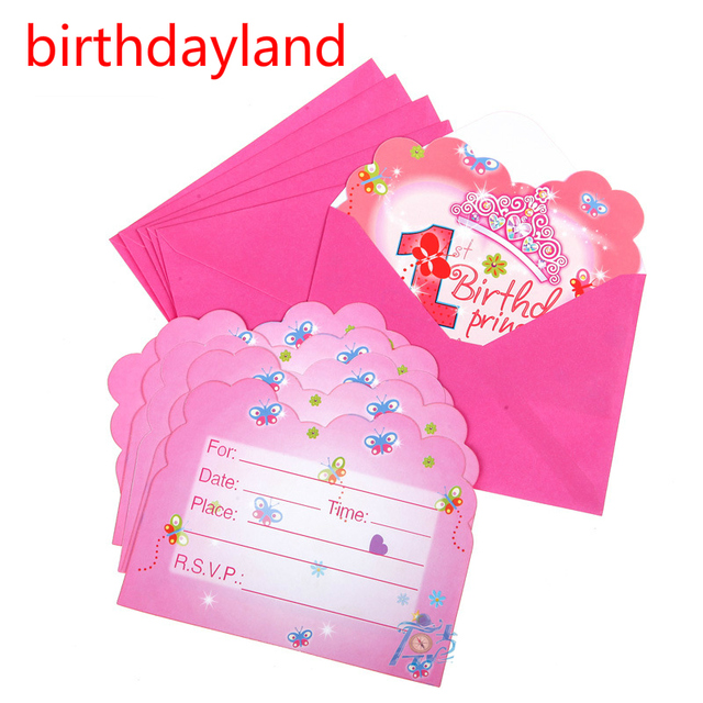 6pcs Cards & 6pcs Envelopes 1st birthday party invitation Card for Children Girl Birthday/Festival Party Decoration