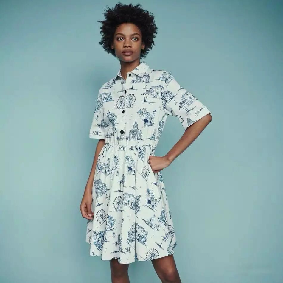 2019 New Women Ink Printed Mini Dress Short Sleeve Turn Down Collar Shirt Style Slim Dress