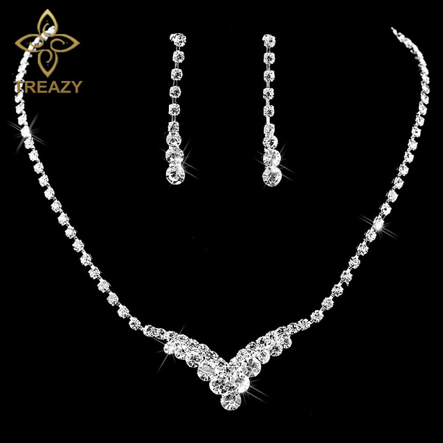 Treazy Fashion V Shape Rhinestone Crystal Wedding Bridal Jewelry Set Silver Color Necklace Earrings For