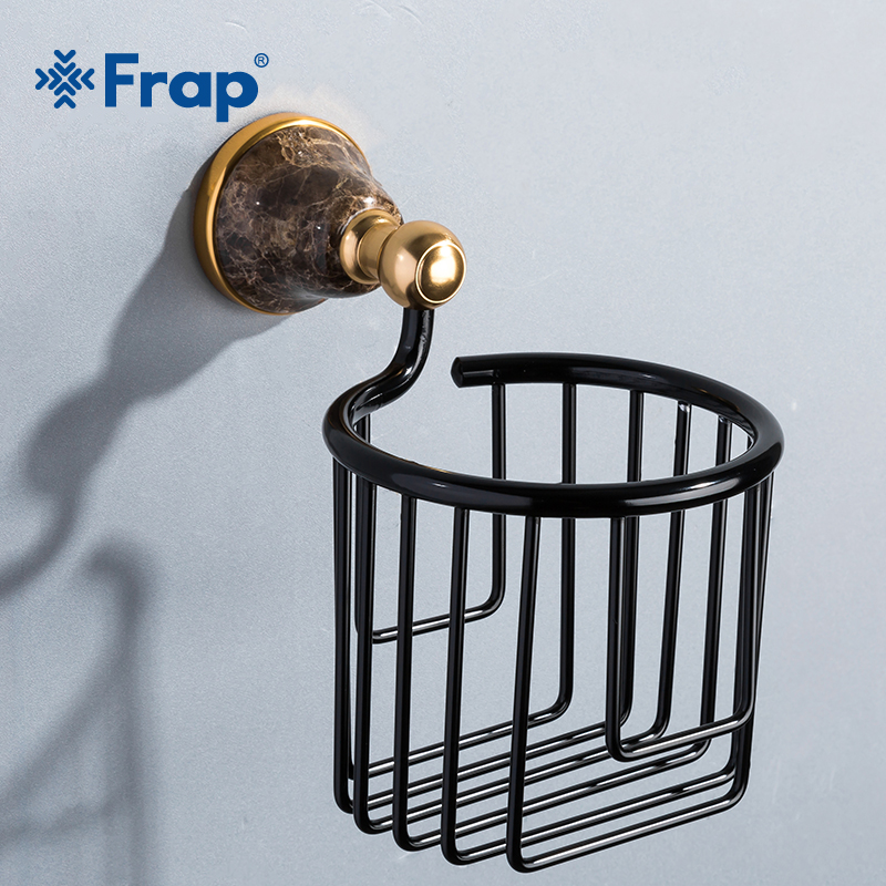 Frap Hot Sale Paper Holders Wall Mounted Bathroom Accessories Toilet Paper Holders Black Bathroom WC Basket Tissue Holder Y18082 gold crystal wall mounted toilet paper holders brass wc roll paper tissue basket bathroom accessories