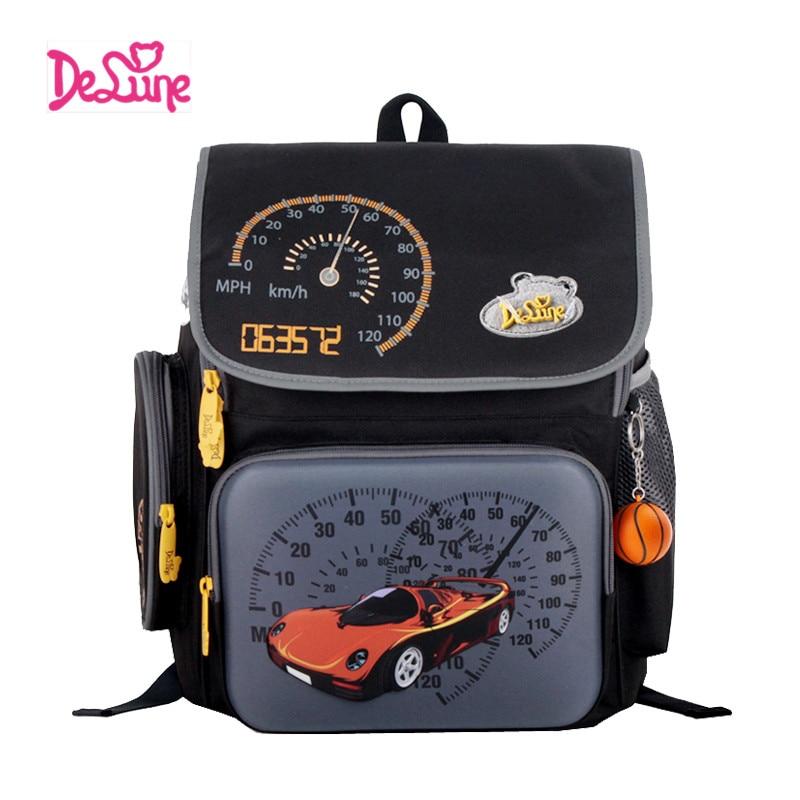 ФОТО Delune cartoon children school bags for boys Cool 3D car school printing backpack kids child spine protection brand school bag