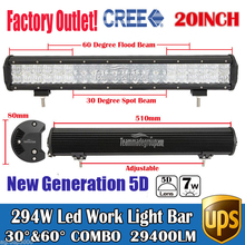 20″ 294W 5D Cree Chips Super Bright Daytime Running Lights LED Work Light Bar Offroad Car Lamp Boat Pickup External Lights SUV